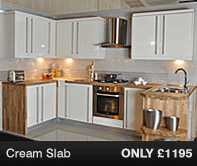 High Gloss Cream Slab Kitchen Units
