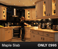 Maple Slab Kitchen Units