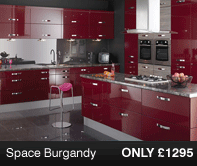 Space Burgandy Kitchen Units