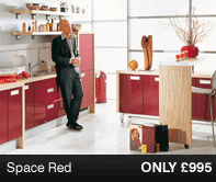 Space Red Kitchen Units