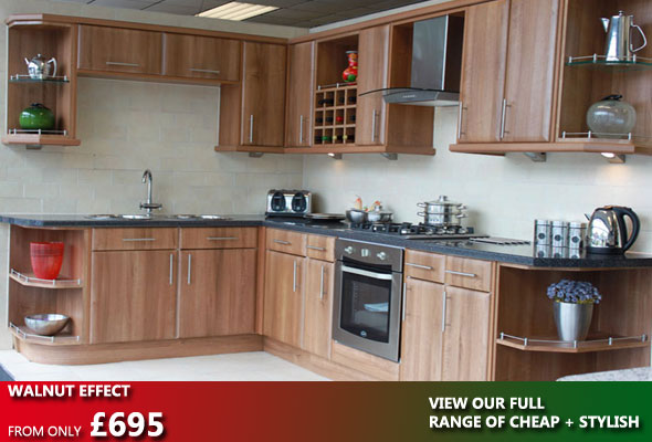 Walnut Effect Kitchen Units